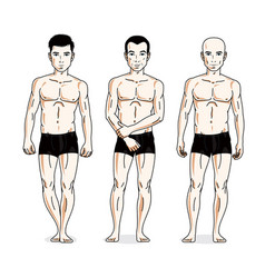 Handsome men group standing in black underwear vector