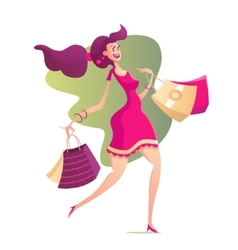 Happy female with shopping bags vector