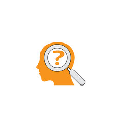 Head and loupe think icon brain interrogation vector