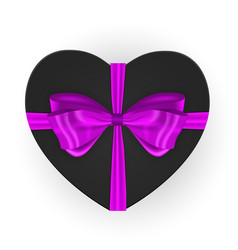 heart shaped gift box with bow vector image