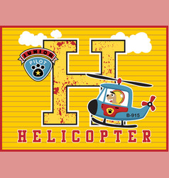 helicopter cartoon with funny pilot vector image