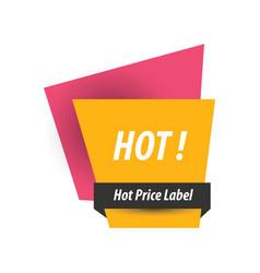 Hot price label pink yellow black vector