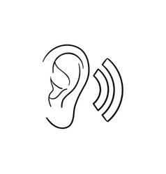Human ear with sound waves hand drawn outline vector