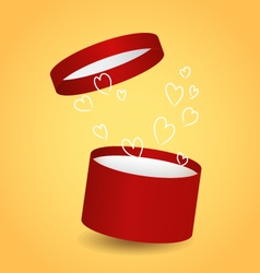 Isolated round red decorative gift box with drawn vector