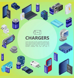 isometric charging sources concept vector image