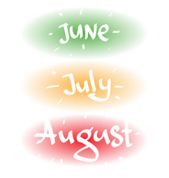 June july august lettering inscription on an oval vector