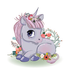 Little cartoon fairytale unicorn vector