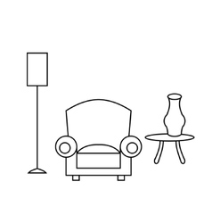 Living room interior design with outline vector image