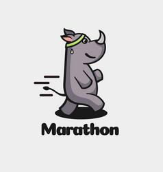 Logo marathon simple mascot style vector