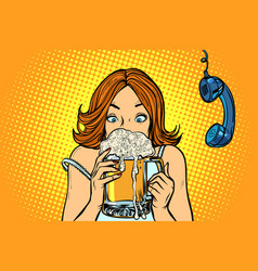 lunch break woman drinking beer vector image
