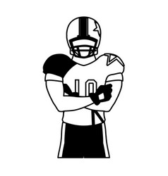man team player american football with uniform vector image