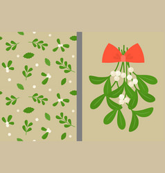 mistletoe and red bow with seamless pattern vector image