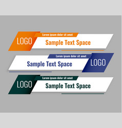 Modern style lower third banners template set vector