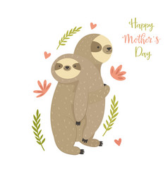 Mother sloth bearing her child greeting card vector