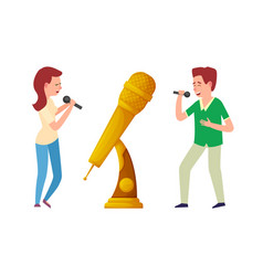 music trophy gold award microphone and singers vector image
