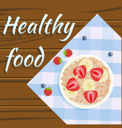 oatmeal strawberry banana healthy food flatlay vector image