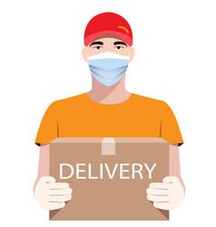 Online delivery service concept delivery man vector