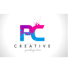 Pc p c letter logo with shattered broken blue vector