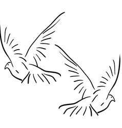 peace dove set vector image vector image