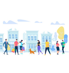 people lifestyle in city men and woman walking vector image