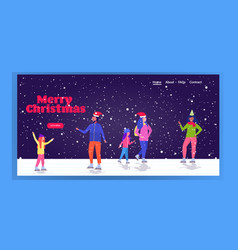 people skating on ice rink winter sport activity vector image
