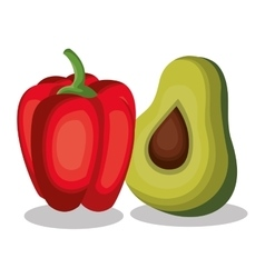 pepper and avocado fresh vector image