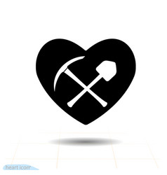 Pickaxe shovel and icon heart black isolated on vector