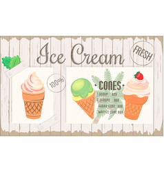 Poster one-page menu ice cream placemat vector