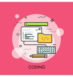Program code window keyboard pencil ruler vector