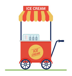 red cart with ice cream on street small vector image