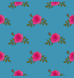 red rose hand drawn seamless pattern on blue vector image
