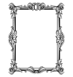 Retro antique baroque border frame with scroll vector