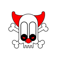Scary clown skull terrible nightmare vector