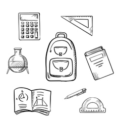 School sketch icons with education supplies vector