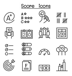 Score icon set in thin line style vector