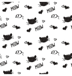Seamless background ink scrawl faces of cats vector