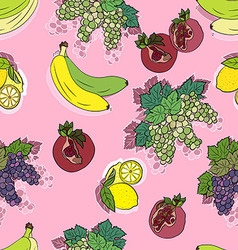 Seamless fruit pattern in pink vector image