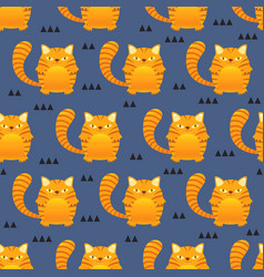 seamless pattern cute tiger stripes cat on blue vector image