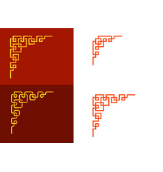 Set chinese line corner element art vector