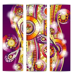 Set of abstract doodle tribal cards vector