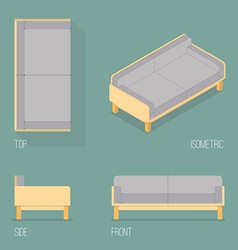 Set of modern sofa isometric drawing vector image