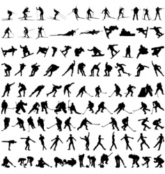 set of winter sport silhouettes vector image