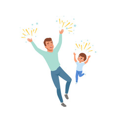 Smiling dad and son happily jumping loving father vector