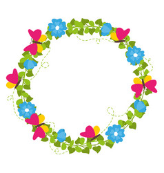 Spring wreath with flowers and butterflies vector