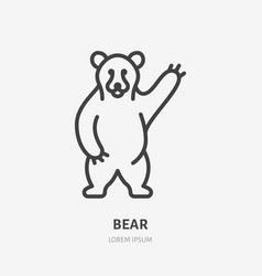 standing bear flat line icon thin sign of vector image