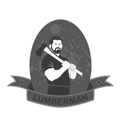 stylish logo lumberjack with an ax vector image