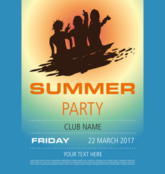 Summer flyer with balck silhouette vector