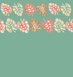 Teal border print tropical floral pattern vector