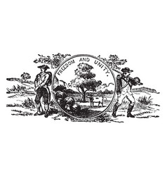 The official us state seal of vermont vintage vector