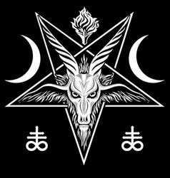 the pentagram sign lucifer the head a vector image